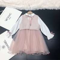 Wholesale beautiful clothing for sale - Group buy Girls set children designer clothing new vest top bottoming dress fashion beautiful mesh stitching warm and comfortable girl suit