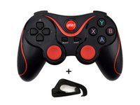 drahtlose pc-spiel-controller groihandel-T3 Wireless Bluetooth Gamepad Joystick Gamecontroller für Android Smart Handy für PC Laptop Gaming Fernbedienung mit Handyhalter