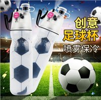 Wholesale soccer bottle for sale - Group buy World Cup Water Bottle Soccer Sports Kettle Portable Mist Spray Summer Cooling Cups Travel Fitness Camping Cup Plastic Spray Cups TL287