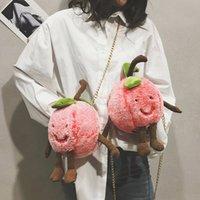 koreanischen stil kreuz körper messenger großhandel-2019 Winter Plüsch Mädchen Taschen Korean Style Kawaii Pfirsich Form Kette Damen Casual Cross Body Schulter Pink Messenger Bags
