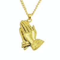 ювелирные изделия ручной работы оптовых-New Men Gold Silver Praying Prayer Hand Buddha Pendant Lucky Necklaces Alloy Hip Hop Jewelry With 50cm Chain #289831