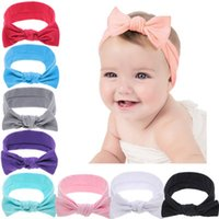 Wholesale hair tie band ears for sale - Group buy Baby Girl Bow Headband Designer Headband Tie Solid Color Right Angle Rabbit Ears Elastic Force Hair Band