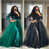 2020 Modest Sequins Prom Dresses with Detachable Train Tulle A Line Jewel Neck Long Sleeves Custom Made Black Girl Evening Gown