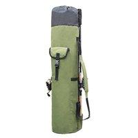leinwand nylon werkzeugtaschen großhandel-Angeltaschen Tragbare Multifunktions Nylon Angelrute Aufbewahrungskoffer Leinwand Reel Organizer Reise Tragestange Werkzeuge Tasche