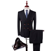 verheiratete männer anzüge großhandel-Jacke + Hose + Weste zweireihiger britischer Anzug koreanischer dünner Zeremonialanzug für Männer