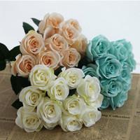 gül demeti buketi toptan satış-En iyi Yapay Carter Güller 12 Kafaları 1 Demet Gül Çiçek Ev Dekorasyon Ponpon Diy Ipek Buket Düğün Vazo Artificiales Florals Deco