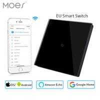 europäischer wandschalter großhandel-Europäische Wifi Smart Wall-Touch-Switch-Steuerung für mobile Apps Funktioniert mit Amazon Alexa Google-Startseite für Smart Life 1 Gang