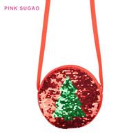verkauf paillettenbeutel groihandel-Rosa Sugao heiße Verkäufe Kind Münzfach Designer Kreis Umhängetasche kleine Umhängetaschen Sequin Weihnachtsbaum Flip Kindergeldbörse