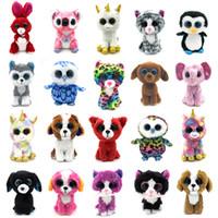 büyük köpek doldurulmuş oyuncaklar toptan satış-20 Stiller TY Unicorn Peluş Oyuncak 15CM Baykuş penguen Köpek Zürafa Büyük Gözler Peluş Hayvan Yumuşak Bebekler Çocuklar Doğum Günü Hediyeleri RRA2053