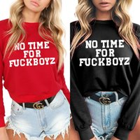 l o t bekleidung groihandel-Frauen Langarm Shirts o Hals Brief Pullover Hoodie Casual Herbst Tops T-Shirt Sexy Tees Mode Blusen Blusas Bekleidung T LJJA3097