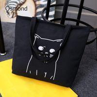Wholesale cat bag resale online - Osmond Cartoon Cats Printed Tote Shopping Bags Canvas Handbag Women Handbags Portable Beach Bag Shoulder Handbags