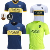 camisa de futebol livre do transporte venda por atacado-Nova 2019 Boca Juniors Início Deep Blue Soccer Jersey 19 20 Temporada Uniformes Boca Juniors Home Soccer camisa de futebol Vendas frete grátis