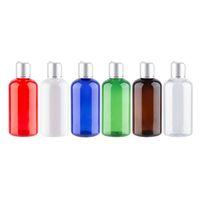 botella de aluminio vacía al por mayor-Al por mayor de la botella vacía de plástico recargable con la botella del tapón de aluminio alta calidad de plata de Envases PET Loción Tónica 220cc botella