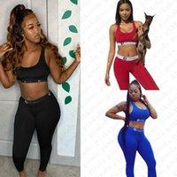 Women Bra Tracksuit Sleeveless Bras Vest + Pants Leggings 2 Piece Set Beachwear Outfit Push Up Crop Top Sports Suit Sportswear D52104