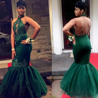 ingrosso abito smeraldo indietro verde sirena-2019 sexy verde smeraldo di pizzo appliques mermaid prom dress africa halter keyhole halter neck backless lunghezza del pavimento formale evening party gown