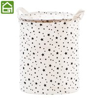 Wholesale large fabric storage baskets resale online - Large Natural Cotton Fabric Waterproof Coating Laundry Hamper Bucket Dirty Clothes Toys Storage Basket Bin with