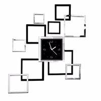 espejos de decoracion 3d al por mayor-Cuadrado Rectángulo pared del reloj del diseño moderno Espejo 3D Etiqueta Decoración Reloj Cocina Oficina Para Pared de la sala principal del reloj de pared Decoración