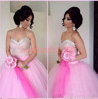 hermoso vestido de novia rosa al por mayor-Hermosa novia de cristal con cuentas en árabe vestidos de novia rosa africano más tamaño vestido de noiva árabe vestido de novia bola país novia