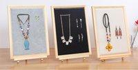 quadros de linho venda por atacado-Moda 40 * 30 cm Photo Frame Jóias Prego Orelha Receber Display Box / Anel de Orelha Quadro Colar de Linho pano Projetos de Exibição de Jóias 1 pc C621