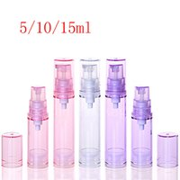 Wholesale cosmetic pressure pump bottle resale online - 5ml ml ml Small Airless Lotion Cream Sample Plastic Bottles Pressure Pump Travel Size Personal Care Cosmetic Packaging