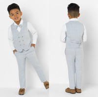 Wholesale little boy wearing white suit for sale - Group buy Two Pieces Plaid Boy Formal Suits Dinner Tuxedos Little Boy Groomsmen Kids Children For Wedding Party Prom Suit Formal Wear Vests Pants