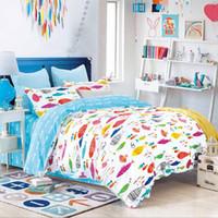 ingrosso disegno del fumetto dei pesci-Set di biancheria da letto in morbida cotone 100% per bambini Lovely Design in cotone per bambini Lenzuolo di copertura in tessuto 192