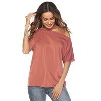 aufdeckende kleidung großhandel-Frauen Mode Sexy Tops Womens Asymmetrische Ärmel Hals Aufschluss Tau Schulter Einfarbig T Shirts 2019 Sommer Neue Ankunft Ladie Kleidung