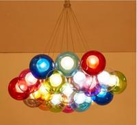 colgante de plastico blanco luz al por mayor-Personalidad Arte Creativo Color Burbuja Araña Sala de estar Bola Bola LED Bola de cristal Lámpara