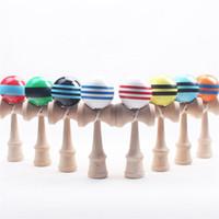japanisches holzspielzeug großhandel-Große Kendama Kugel-japanische traditionelle hölzerne Spielwaren viele Farben 18.5 * 6cm Ausbildungs-Geschenk-Neuheit spielt 180PCS DHL geben Verschiffen frei