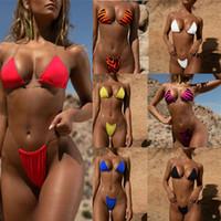 ingrosso pezzi di pattini della donna-Costume da bagno donna due pezzi stampa leopardo solido cavezza tracolla trasparente bikini sexy bikini estate sport acquatico Bikini 11 colori