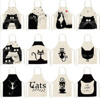 textil gato al por mayor-2020 Patrón chico nuevo sin mangas del delantal de la impresión del gato delantal linda de textiles para el hogar Housewear delantales Moda