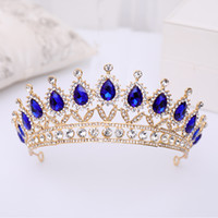 Wholesale prom queen tiara for sale - Group buy Vintag Baroque Blue Crystal Crown Queen Tiara Wedding Hair Accessories Rhinestone Bridal Crown Prom Show Hair Jewelry For Bride