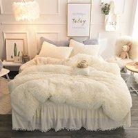 Wholesale sham bedding resale online - Plush Shaggy Duvet Cover Set Quilted Pompoms Fringe Ruffles Bedskirt Pillow Shams Bedding Set Twin Full Queen King