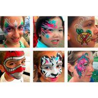 heiße körpermalerei großhandel-Fabrik DHL Hot Paint 6 Farbe Augenfarbe Paletten UV Glowing Face Painting Tätowierung Pigment Multicolor Serie Körper Lidschatten Kunst