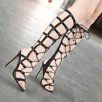 sandálias de renda preta para as mulheres venda por atacado-Roma Estilo Black Lace Up Joelho Gladiador Sandálias Mulheres desenhista calça tamanho 35 a 40