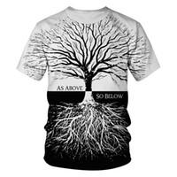 plus größe frau sportkleidung großhandel-SchwarzWeißer Baum Lustiges T-Shirt Sommer Männer Frauen Harajuku Plus Size Sportwear T-Shirt Homme De Marque