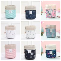 Women Cosmetic Bag Flamingo Print Makeup Bags Barrel Shaped Storage Bag Drawstring Travel Pouch Sundries Toiletry Bags Wash Bag YFA468L