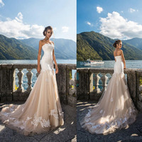 Wholesale line mermaid strapless wedding dresses for sale - Group buy 2020 Champagne Mermaid Wedding Dresses Strapless Lace Applique Lace Country Wedding Dress Bridal Gowns Cheap Custom Made