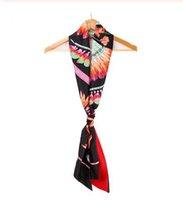 пернатый шарф оптовых-Новый модный бренд дизайн шарф для женщин шелковый шарф перо с принтом платок ручка сумка ленты 190 см длинные шарфы