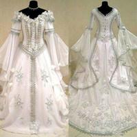 vestidos de novia celta al por mayor-Vestidos de novia medieval bruja celta Tudor vestuario renacimiento gótico victoriano Holloween con cordones del corsé del vestido de boda del tamaño extra grande