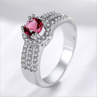 Wholesale red stones rings women for sale - Group buy Women Wedding Gift Jewelry Ring Red Stone CZ Diamond elegant Silver plated Rings with Retail box Set