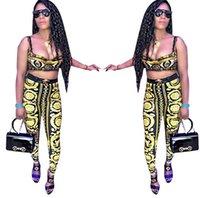 ingrosso pantaloni yoga stampa digitale-Tute stampate stampa dorata delle donne Pantaloni del reggiseno stampati dorati 2pcs / set insiemi di yoga di sport di modo mette LJJO6852