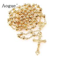 ingrosso branelli rosari rotondi-6 millimetri di nastro dorato perline di ferro rosari in metallo rosario perle tonde collana a buon mercato cattolicesimo preghiera gioielli religiosi