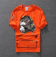 ingrosso magliette arancioni-T-shirt casual Abbigliamento da uomo Camicia stilista Nero Bianco Arancione in misto cotone Girocollo manica corta stampa Cartoon Top