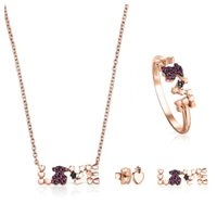 silberplatte durchbohrte ohrringe großhandel-100% Sterlingsilber 925 überzog 18k Rose Gold-LIEBE Multielement-Edelstein-Liebes-Halskette Ring Asymmetrische Bär Piercing Ohrringe