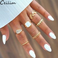 senhoras coroas venda por atacado-6 Pçsset Moda Bohemia Folha De Cristal Coroa Anéis Set Para As Mulheres Anéis De Casamento De Ouro Senhora Nova Jóias Presentes