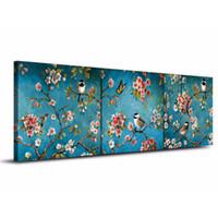 ingrosso uccelli dipinti olio-Di alta qualità dipinta a mano hd stampa astratta arte cinese uccelli fiore arte pittura a olio su tela wall art home office deco l20
