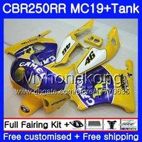 ingrosso cammelli gialli-Iniezione CAMEL blu giallo Stampo per HONDA CBR 250RR MC19 CBR250RR 1988 1989 Corpo 261HM.48 CBR 250 RR 250R CBR250 RR 88 89 Kit carena + Serbatoio