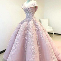 Wholesale sweet petals dress resale online - Pink Flowers Appliques Ball Gown Quinceanera Dresses Off Shoulder Backless Sweet Pageant Prom Evening Masquerade Gowns