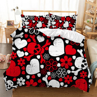 Wholesale queen skull bedding for sale - Group buy Fanaijia D Sugar Skull Bedding Set queen size love Skull Duvet Cover Set with Pillowcase Bed Home Textile